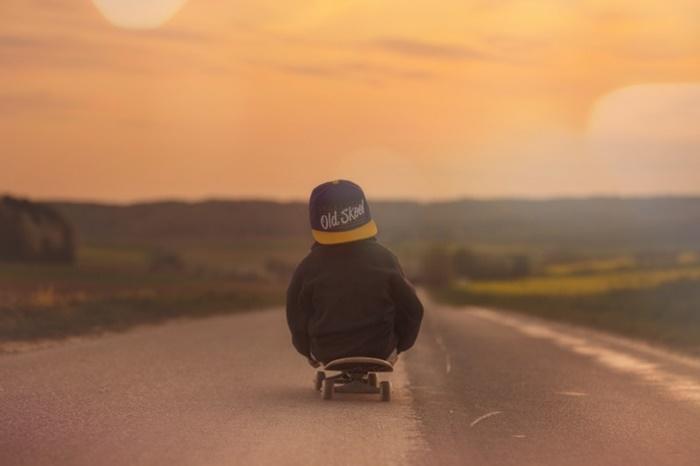 skateboard-child-boy-sunset-afterglow-landscape